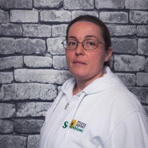 Mitarbeiterin Beatrice Guthmann bei dem Pflegedienst Sonnenblume