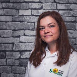 Mitarbeiterin Carina Merten bei dem Pflegedienst Sonnenblume